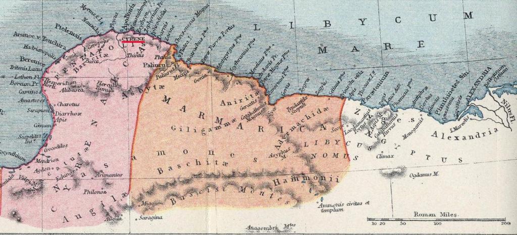 Karta över Cyrenaica, Marmarica och Kyrene under den romerska eran på 200-talet efter Kristus.