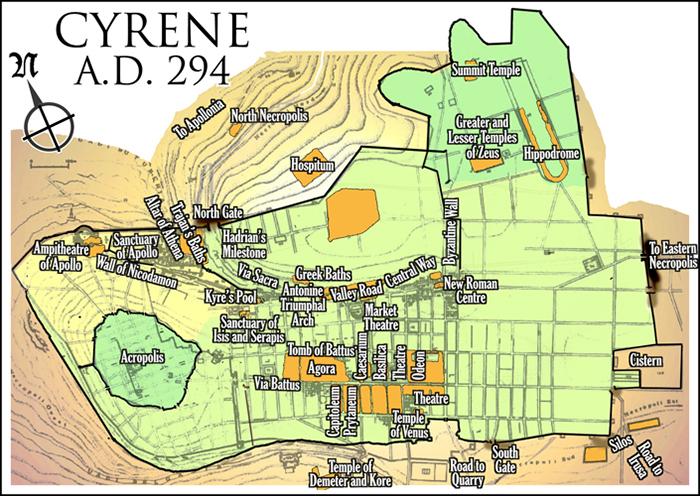 Karta över Kyrene år 294 efter Kristus