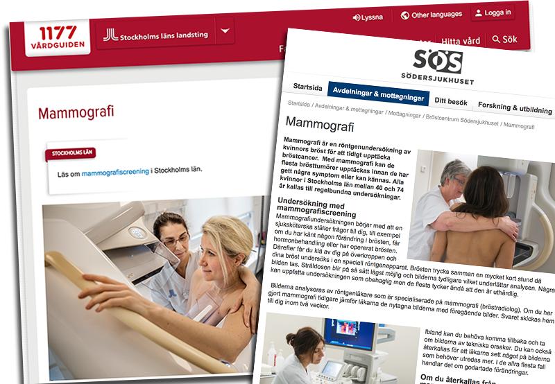 Mammografi rekommenderas av 117 Vårdguiden och Södersjukhuset i Stockholm - Skärmdumpar