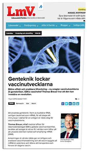 LäkemedelsVärlden positiv till genvaccin och GSK:s planer.