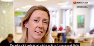 """Bild från Livsmedelsverkets film: """"Måltider i ädreomsorgen"""", 2018."""