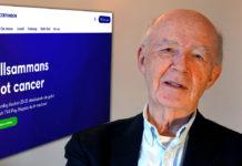 Lars Bern och sida från Cancerfonden.se. Montage och foto: Torbjörn Sassersson