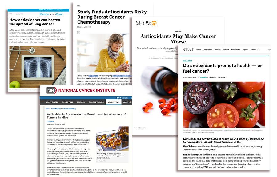 Medier vilseleder om cancer och antioxidanter