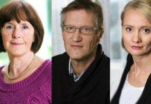 Annika Linde, Anders Tegnell och Karin Tegmark Wisell. Pressfoton från Folkhälsomyndigheten